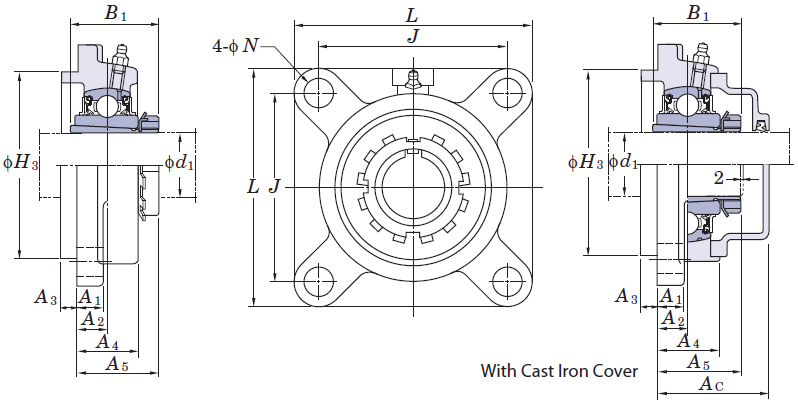 Dimensional sketch  sc 1 st  CISO TRADE & UKFS+H square piloted 4-bolt flange bearing unit tapered bore with ...
